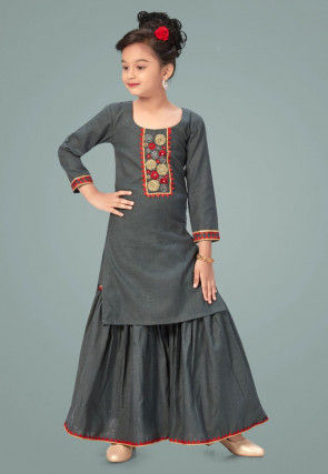 Embroidered Cotton Silk Pakistani Suit in Grey
