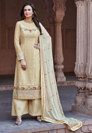 Embroidered Cotton Silk Pakistani Suit in Light Beige