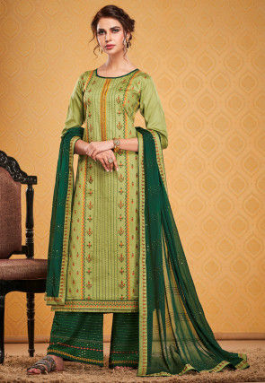Embroidered Cotton Silk Pakistani Suit in Light Green