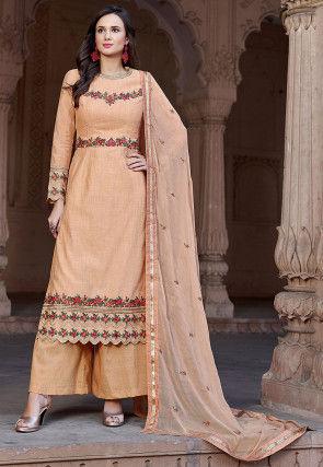Embroidered Cotton Silk Pakistani Suit in Light Orange