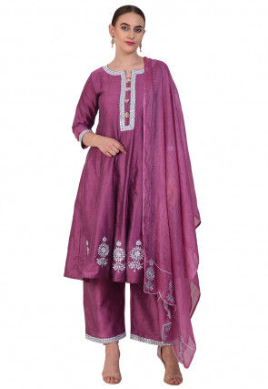 Embroidered Cotton Silk Pakistani Suit in Magenta