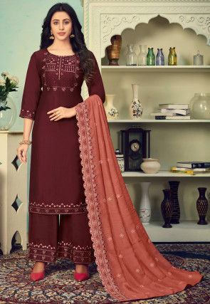 Embroidered Cotton Silk Pakistani Suit in Maroon