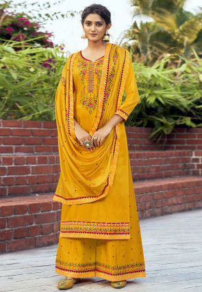 Embroidered Cotton Silk Pakistani Suit in Mustard