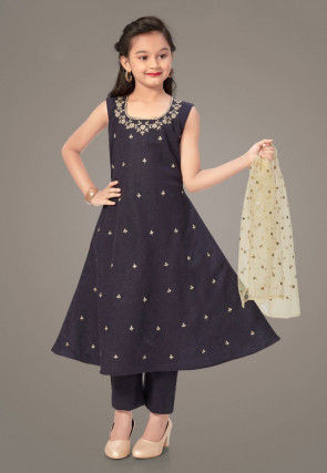 Embroidered Cotton Silk Pakistani Suit in Navy Blue
