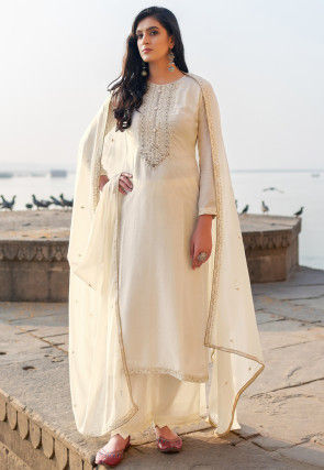 Embroidered Cotton Silk Pakistani Suit in Off White