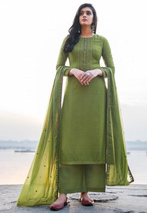 Embroidered Cotton Silk Pakistani Suit in Olive Green