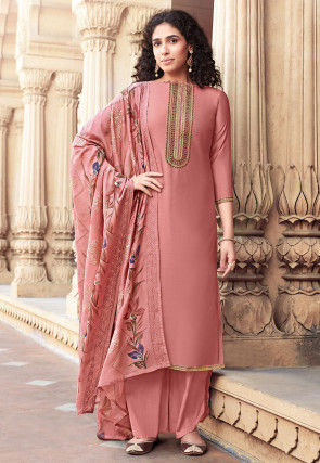 Embroidered Cotton Silk Pakistani Suit in Pink