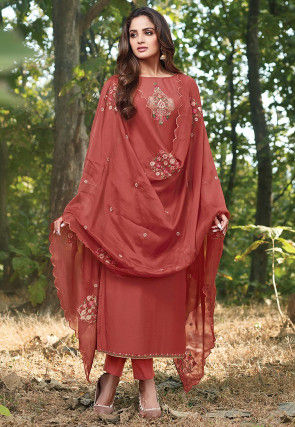 Embroidered Cotton Silk Pakistani Suit in Rust