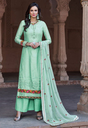 Embroidered Cotton Silk Pakistani Suit in Sea Green