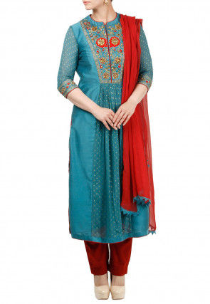 Embroidered Cotton Silk Pakistani Suit in Teal Blue