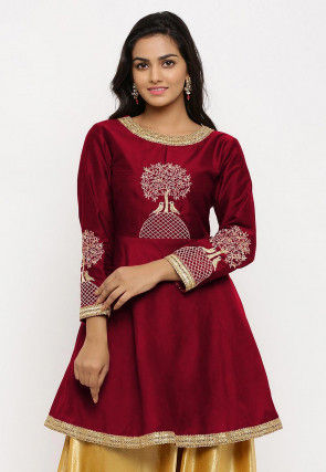 Embroidered Cotton Silk Peplum Style Kurta in Maroon