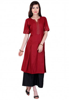 Embroidered Cotton Silk Pleated Kurta Set in Maroon