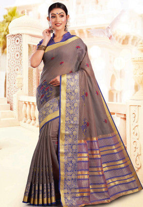 Embroidered Cotton Silk Saree in Fawn