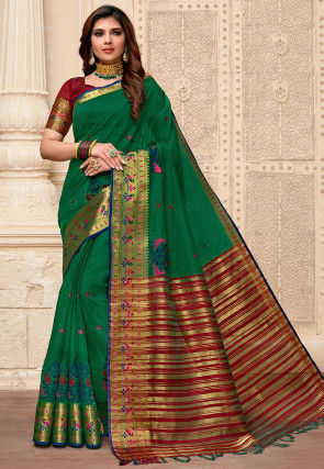 Embroidered Cotton Silk Saree in Green