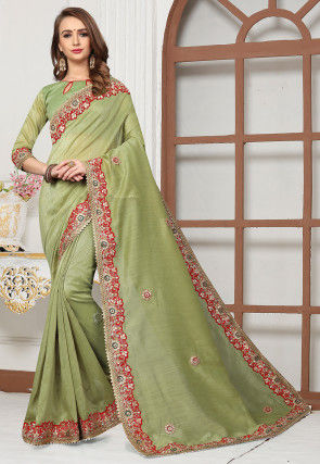 Embroidered Cotton Silk Saree in Light Olive Green