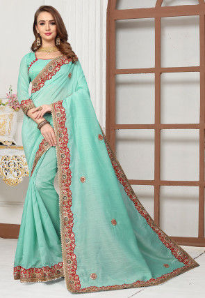 Embroidered Cotton Silk Saree in Light Turquoise