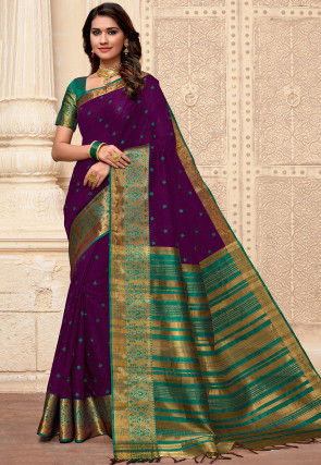Embroidered Cotton Silk Saree in Purple