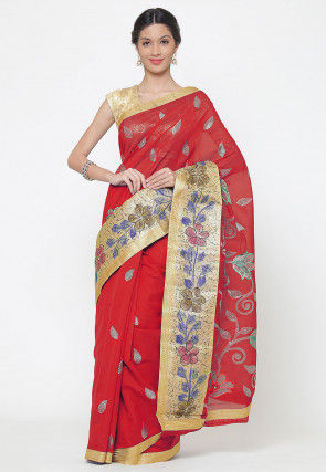 Embroidered Cotton Silk Saree in Red