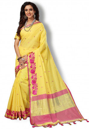 Embroidered South Cotton Saree in Yellow