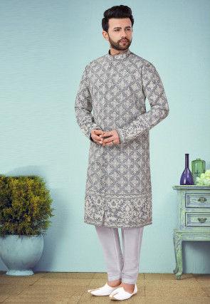 Embroidered Cotton Silk Sherwani in Grey