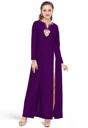 Embroidered Cotton Silk Side Slit Long Kurta in Violet