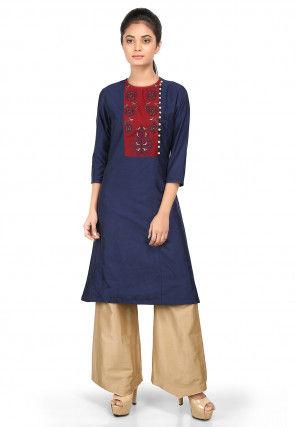 Embroidered Cotton Silk Straight Kurta Set in Navy Blue