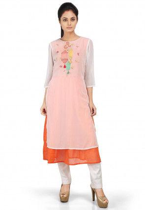 Embroidered Cotton Silk Straight Kurta Set in White and Orange