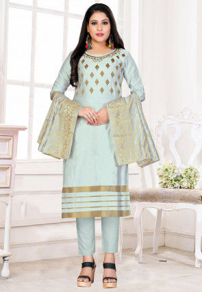 Embroidered Cotton Silk Straight Suit in Sky Blue