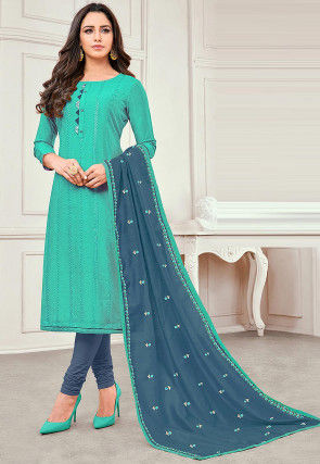 Embroidered Cotton Silk Straight Suit in Turquoise