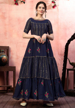 Embroidered Cotton Silk Tiered Gown in Navy Blue