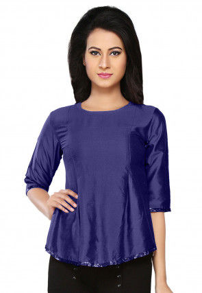 Embroidered Cotton Silk Top in Navy Blue