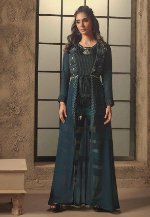Embroidered Cotton Silk Top Jacket Set in Blue and Black