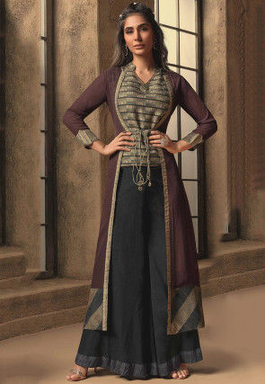 Embroidered Cotton Silk Top Jacket Set in Wine and Black