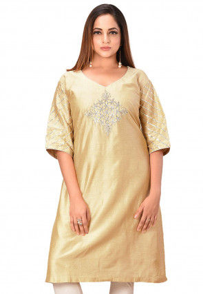 Embroidered Cotton Silk Tunic in Beige