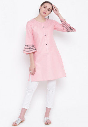 Embroidered Cotton Silk Tunic Kurta in Baby Pink