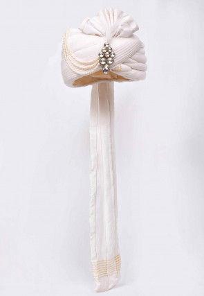 Embroidered Cotton Silk Turban in Off White