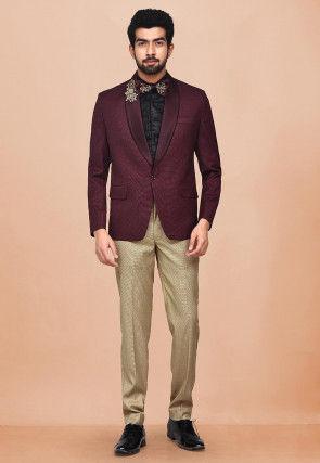 Embroidered Cotton Silk Tuxedo in Maroon