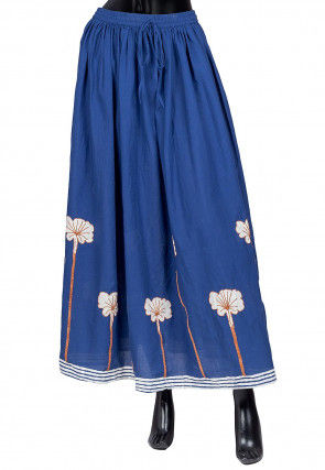 Embroidered Cotton Skirt in Blue