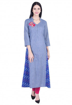 Embroidered Cotton Slub A Line Kurta in Blue