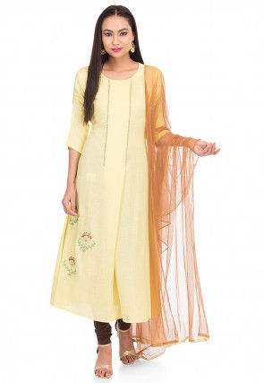 Embroidered Cotton Slub A Line Suit in Light Yellow