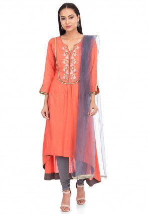 Embroidered Cotton Slub Asymmetric Suit in Peach