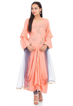 Embroidered Cotton Slub Cowl Style Asymmetric Suit in Peach