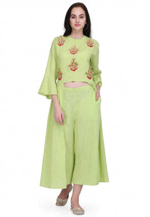 Embroidered Cotton Slub High Low Tunic in Light Green