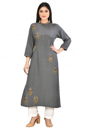 Embroidered Cotton Slub Kurta in Dark Grey