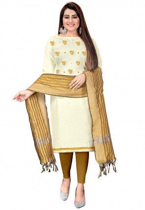 Embroidered Cotton Slub Pakistani Suit in Cream