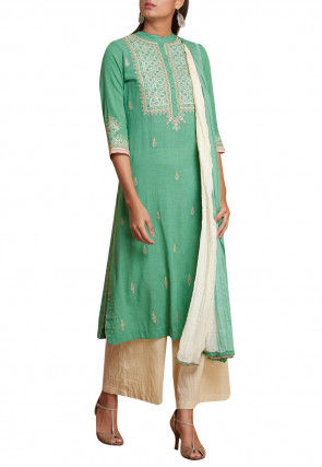 Embroidered Cotton Slub Pakistani Suit in Teal Green