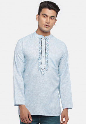 Embroidered Cotton slub Short Kurta in Sky Blue