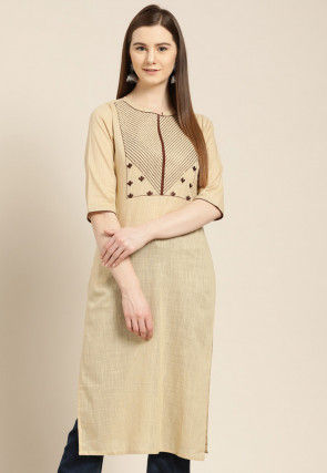 Embroidered Cotton Slub Straight Kurta in Beige
