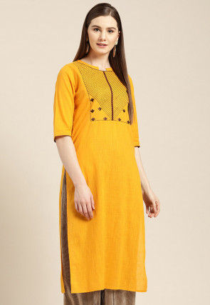 Embroidered Cotton Slub Straight Kurta in Mustard
