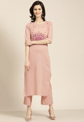 Embroidered Cotton Slub Straight Kurta Set in Light Peach
